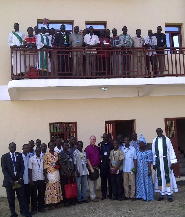 With staff and students at Bishop Gwynne Theological College, Juba, South Sudan, 2014
